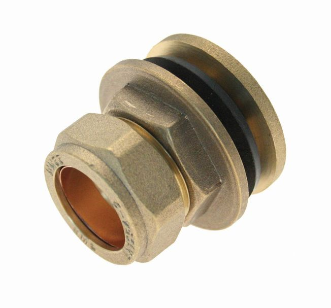 15mm Flange Tank Connector - Brass