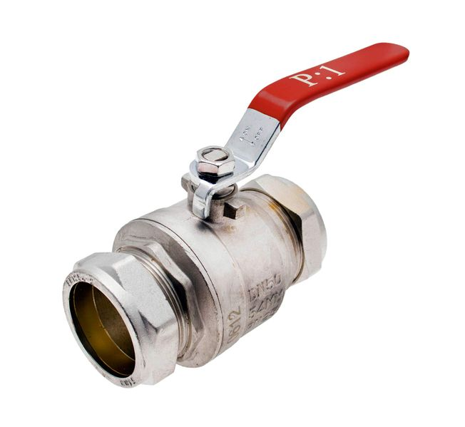 54mm - Red Approved Lever Ball Valve Compression - WRAS, CE